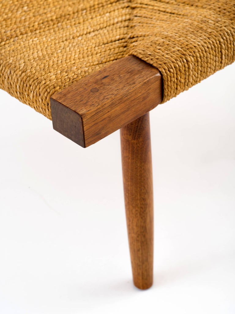 George Nakashima Fitch Stool / Ottoman in Walnut with Grass Cord Seat In Good Condition For Sale In Brooklyn, NY