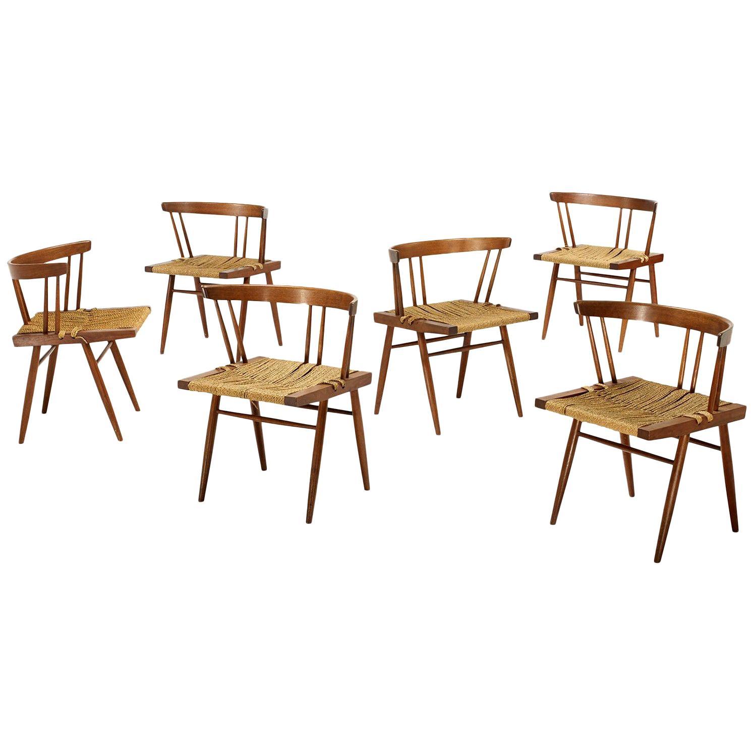 George Nakashima Grass Seat and Walnut Chairs