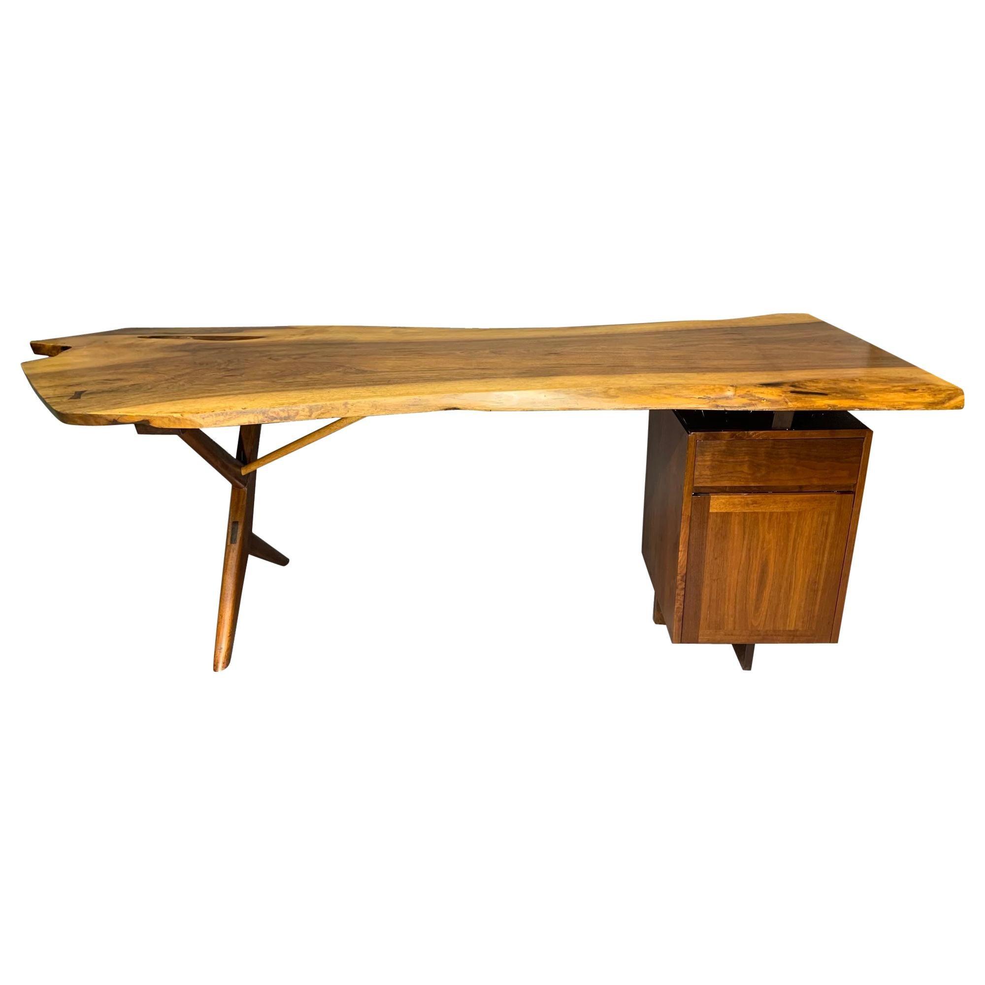 George Nakashima Large Conoid Writing Desk with Free-Form Edge Top