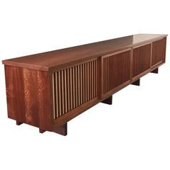 George Nakashima Rare Four-Door Pandanus Cabinet in Walnut and Teak, Midcentury