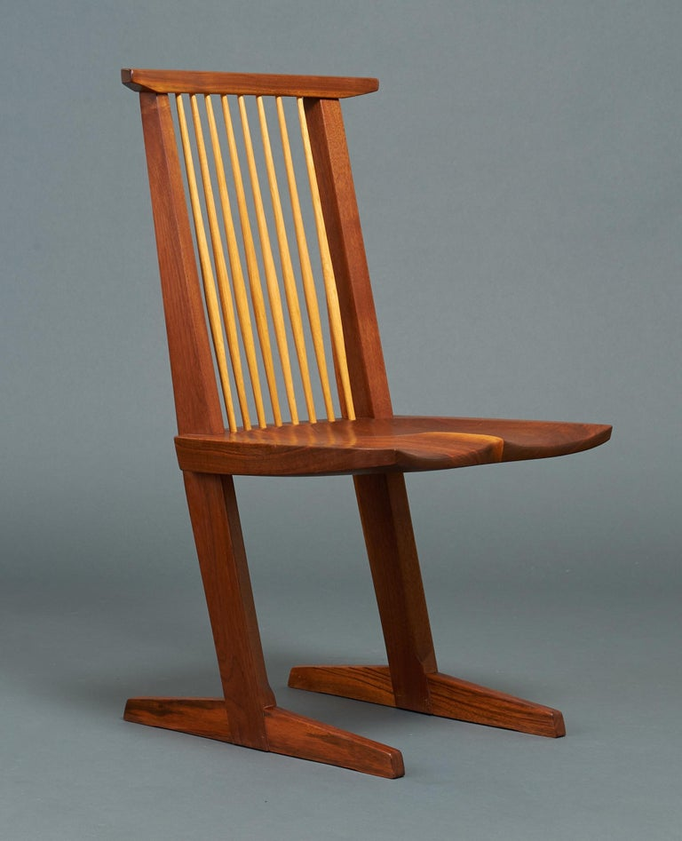 George Nakashima, Rare Sculptural Pair of Conoid Chairs in Walnut, Signed, 1989 For Sale 3