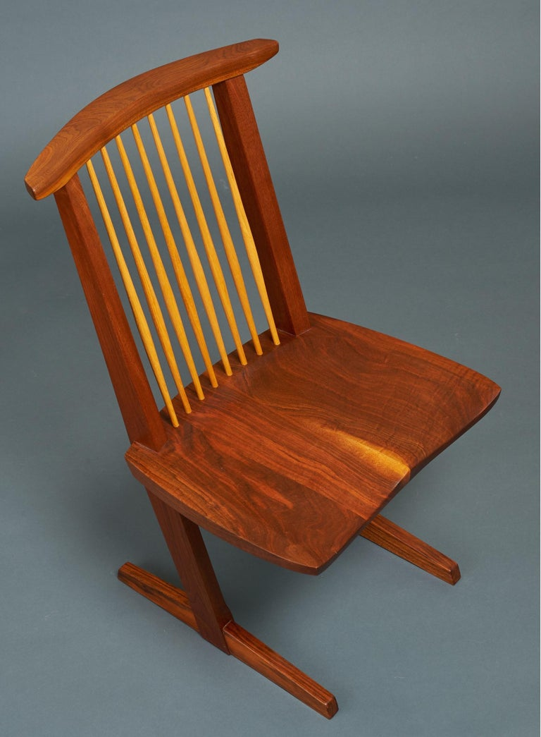 George Nakashima, Rare Sculptural Pair of Conoid Chairs in Walnut, Signed, 1989 For Sale 7