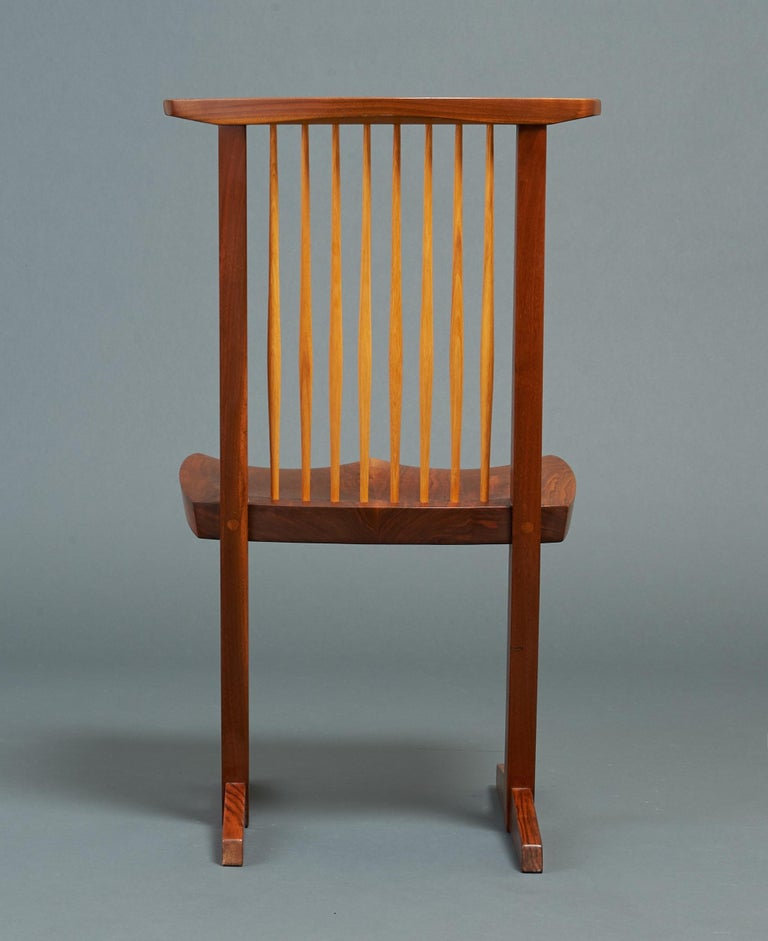 George Nakashima, Rare Sculptural Pair of Conoid Chairs in Walnut, Signed, 1989 For Sale 5