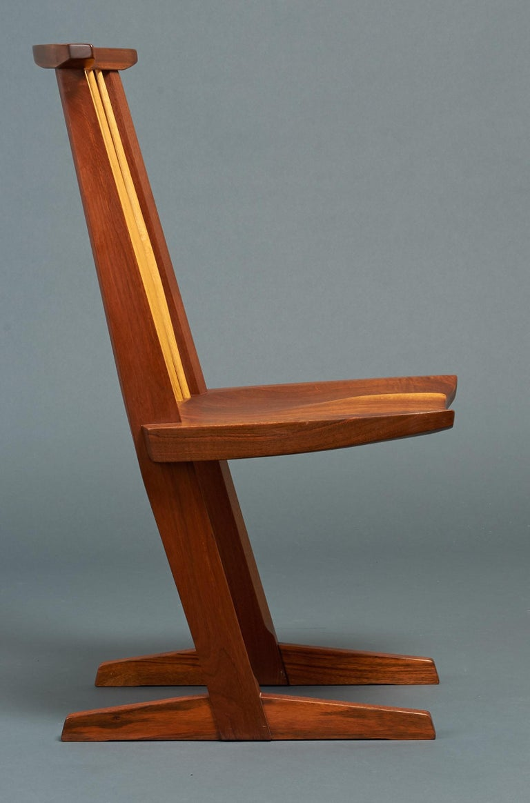 George Nakashima, Rare Sculptural Pair of Conoid Chairs in Walnut, Signed, 1989 For Sale 6