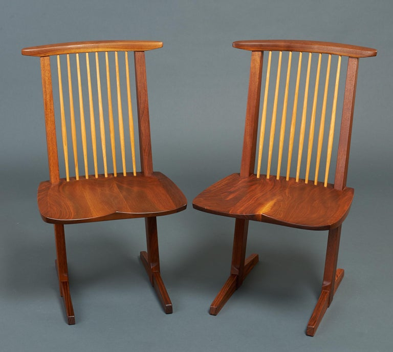 George Nakashima, Rare Sculptural Pair of Conoid Chairs in Walnut, Signed, 1989 For Sale 8