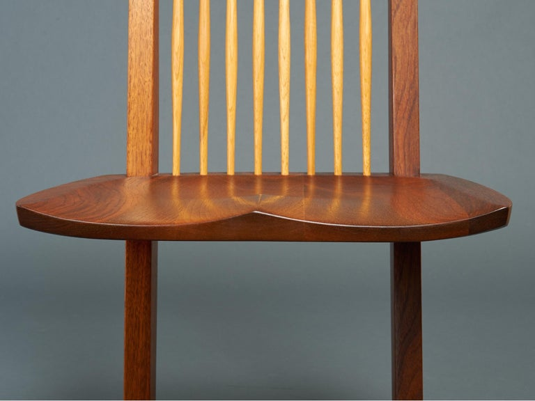 George Nakashima, Rare Sculptural Pair of Conoid Chairs in Walnut, Signed, 1989 For Sale 10