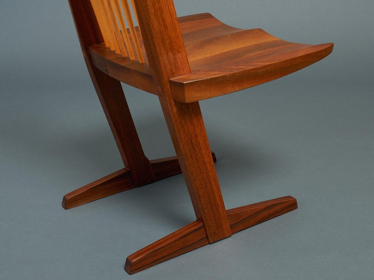 George Nakashima, Rare Sculptural Pair of Conoid Chairs in Walnut, Signed, 1989 For Sale 12