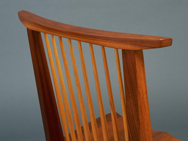 George Nakashima, Rare Sculptural Pair of Conoid Chairs in Walnut, Signed, 1989 For Sale 11