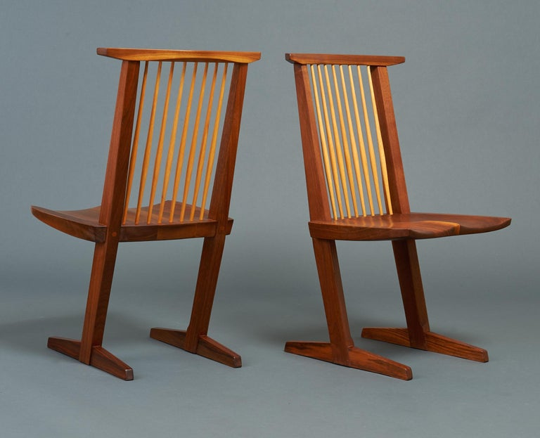 George Nakashima, Rare Sculptural Pair of Conoid Chairs in Walnut, Signed, 1989 For Sale 2