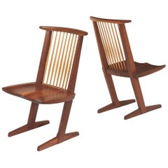 George Nakashima, Rare Sculptural Pair of Conoid Chairs in Walnut, Signed, 1989