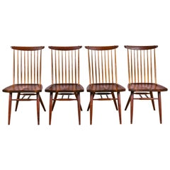 "George Nakashima Set of Four Walnut and Oak ""New Chairs"", USA 1960s"