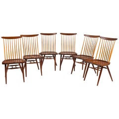 "George Nakashima Set of Six Walnut and Hickory ""New Chairs"", USA 1965"