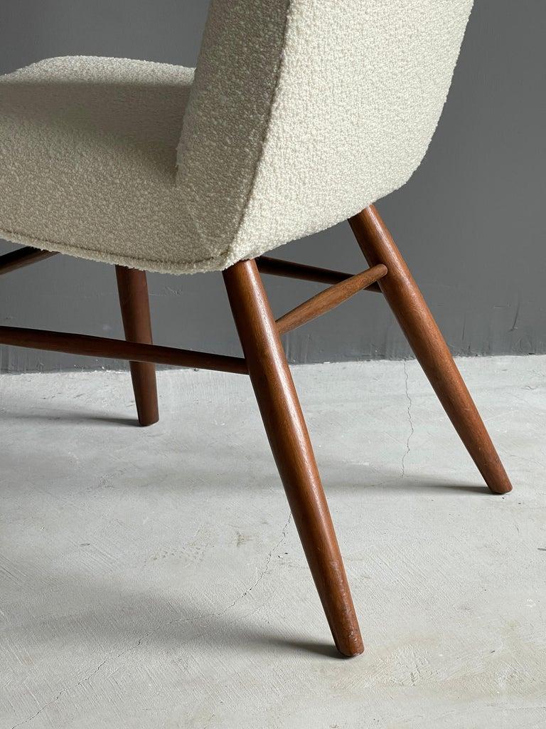 George Nakashima, Side Chair, White Bouclé, Walnut, for Widdicomb, America 1960s For Sale 6