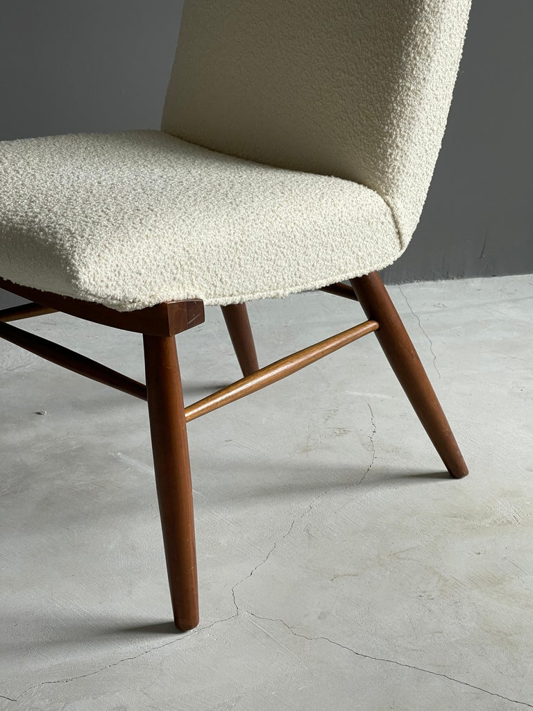 Mid-Century Modern George Nakashima, Side Chair, White Bouclé, Walnut, for Widdicomb, America 1960s For Sale
