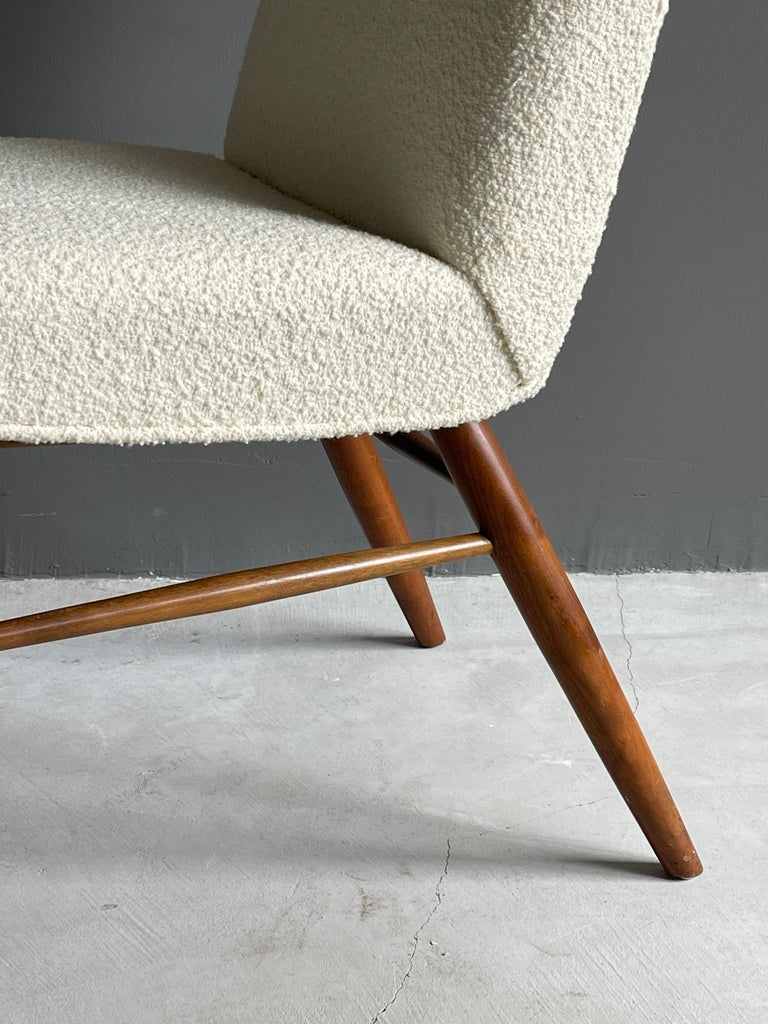 George Nakashima, Side Chair, White Bouclé, Walnut, for Widdicomb, America 1960s For Sale 3