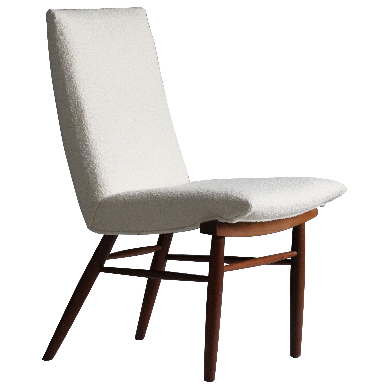 George Nakashima, Side Chair, White Bouclé, Walnut, for Widdicomb, America 1960s