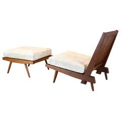 "George Nakashima, Single ""Cushion"" Chair and Ottoman, 1950s"