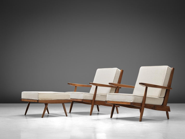 Mid-Century Modern George Nakashima Spindleback Armchairs with Ottoman For Sale