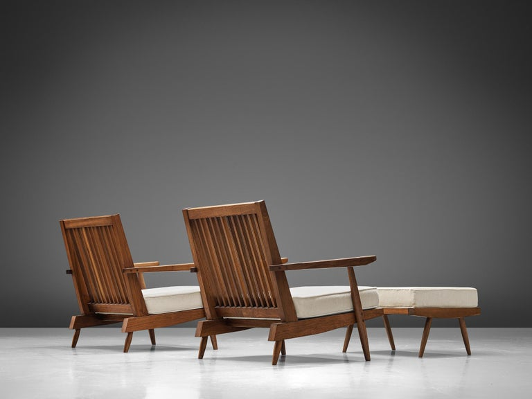 American George Nakashima Spindleback Armchairs with Ottoman For Sale