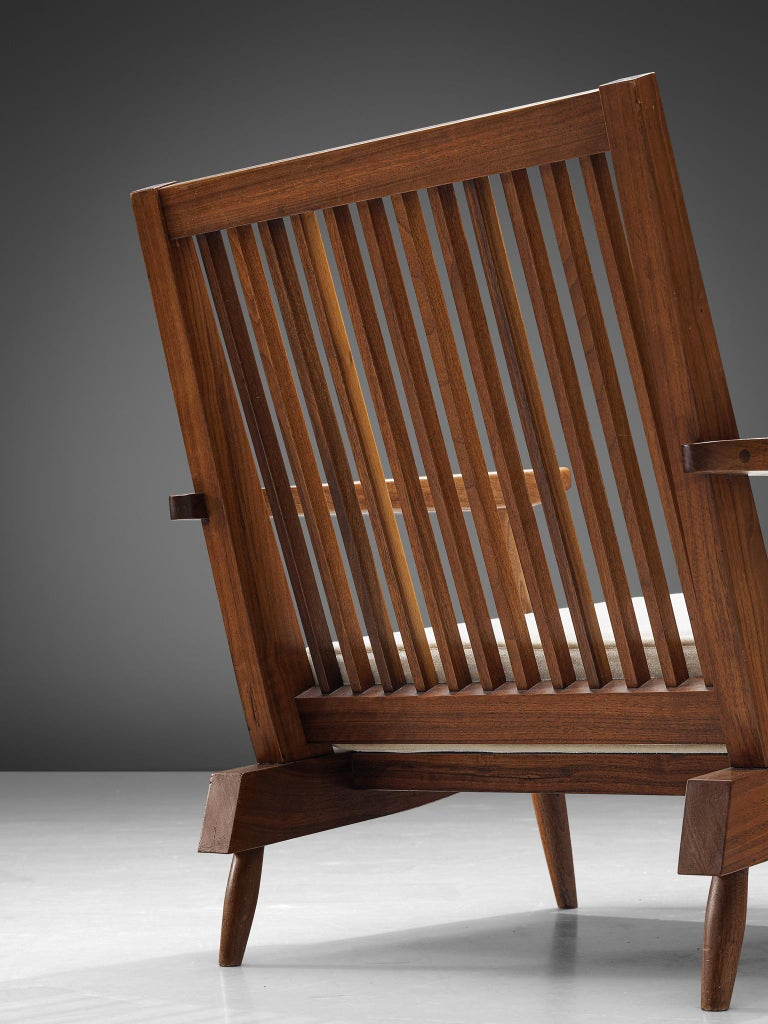 Mid-20th Century George Nakashima Spindleback Armchairs with Ottoman For Sale