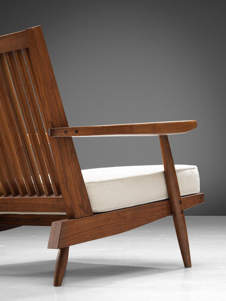Fabric George Nakashima Spindleback Armchairs with Ottoman For Sale