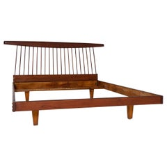 George Nakashima Style Wooden Bed in Original Condition, 1950s