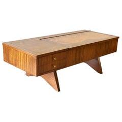 George Nakashima Walnut and Burl Inlay Coffee Table