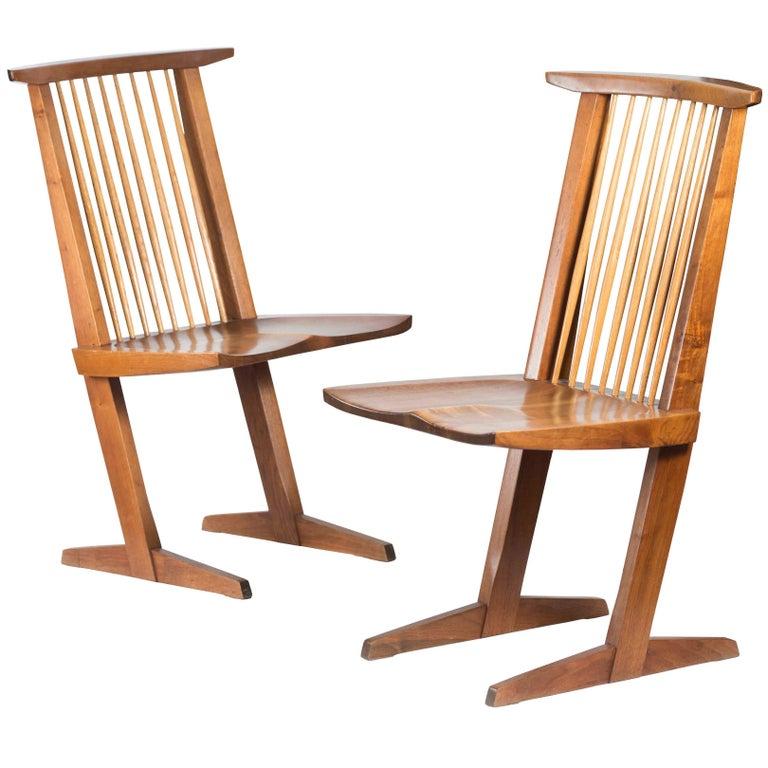 George Nakashima Walnut Conoid Chairs