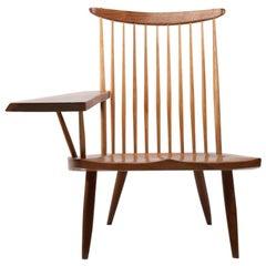 George Nakashima Walnut Lounge Chair, Sap, Arm Right 1975 with COA