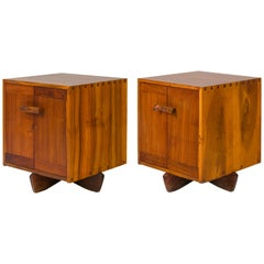 George Nakashima Walnut & Maple Burl Kornblut Nightstands or Cabinets, USA 1970s