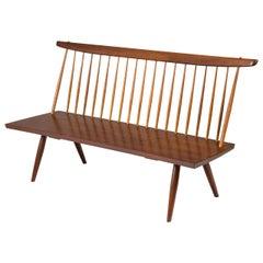 George Nakashima Walnut Spindle Back Bench, USA, 1960s