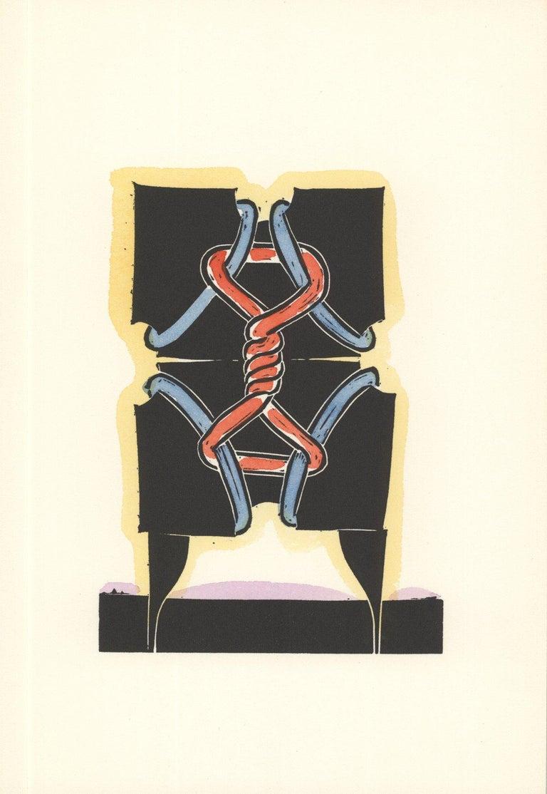 1973 George Nama 'Land II' Multicolor,Black Linocut - Print by George Nama