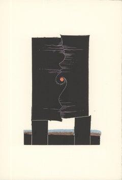 1973 George Nama 'Land IV' Black Linocut