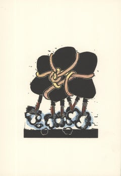 "George Nama-Air IV-9.5"" x 6.5""-Linocut-1973-Multicolor, Black"