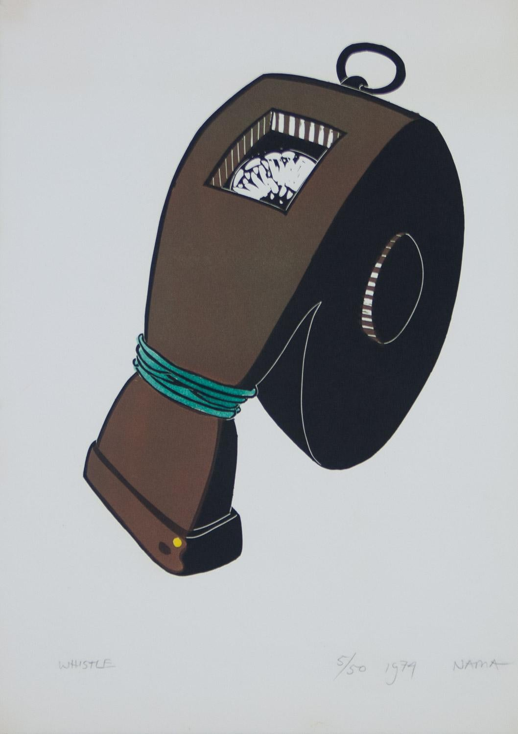 Whistle lino-cut from George Nama suite Tight Rope 1974