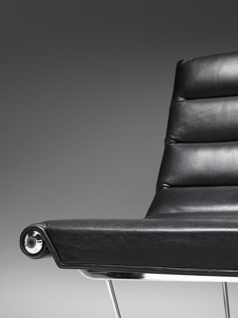 George Nelson 6380 'Catenary' Easy Chair in Black Leather For Sale 3