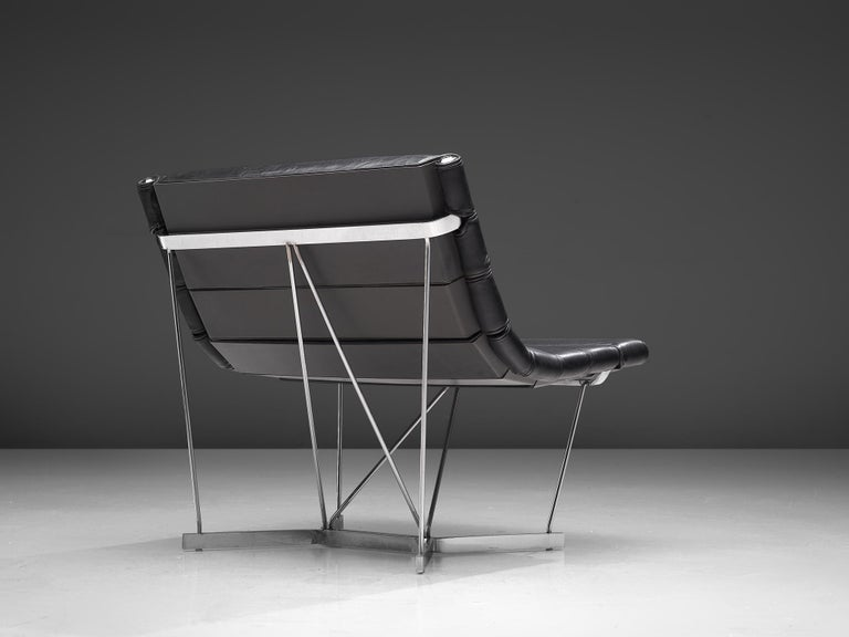 George Nelson & Associates for Herman Miller, 'Catenary' lounge chair model 6380, steel and leather, United States, 1962.  Model 6380 or the Catenary chair by George Nelson & Associates from 1962. The special chromed steel construction of this