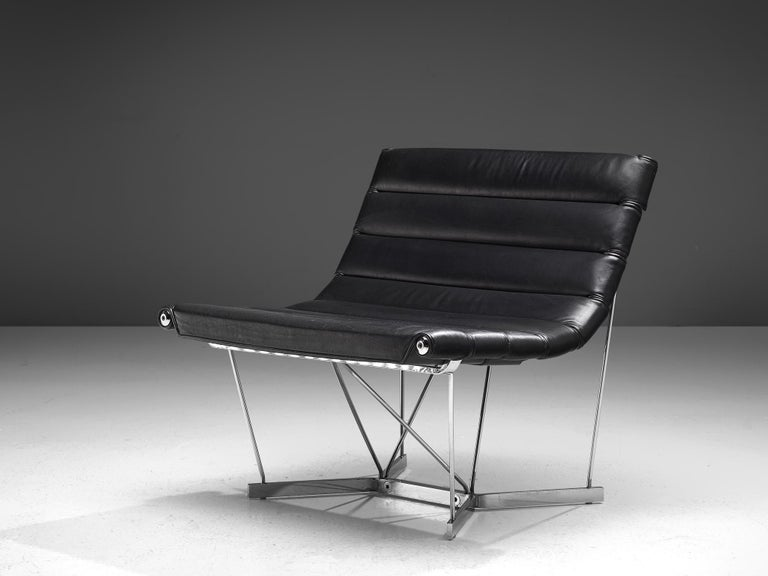 Mid-Century Modern George Nelson 6380 'Catenary' Easy Chair in Black Leather For Sale