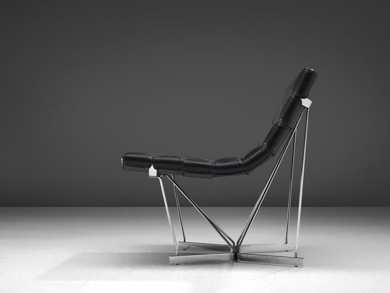 George Nelson 6380 'Catenary' Easy Chair in Black Leather In Good Condition For Sale In Waalwijk, NL