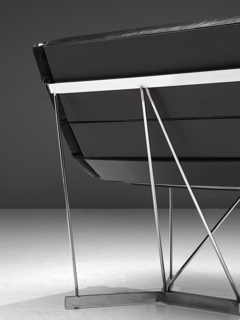Mid-20th Century George Nelson 6380 'Catenary' Easy Chair in Black Leather For Sale