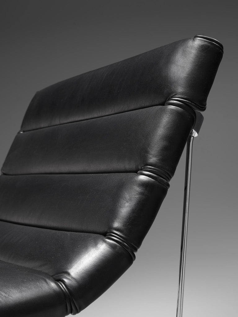 George Nelson 6380 'Catenary' Easy Chair in Black Leather For Sale 2