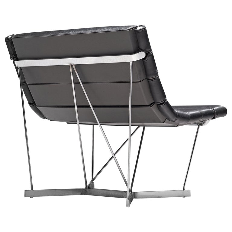 George Nelson 6380 'Catenary' Easy Chair in Black Leather For Sale