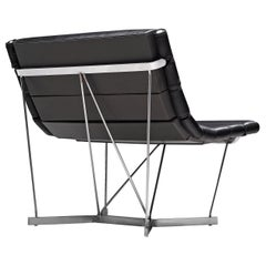 George Nelson 6380 'Catenary' Easy Chair in Black Leather