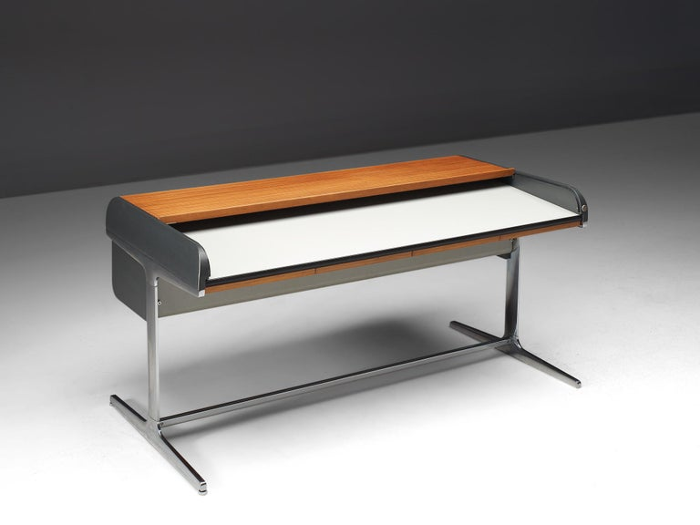 George Nelson for Herman Miller, roll top desk no. 64916, polished aluminum, plastic laminate, wood, United States, design 1953, production 1970s.  This roll top desk is designed as part of the Action Office 1 (AO1) furniture line by George