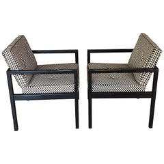 George Nelson Architectural Wood Frame Chairs with Alexander Girard Fabric