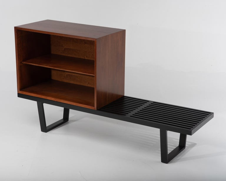Mid-Century Modern George Nelson Basic Series Cabinet on Ebonized Herman Miller Bench For Sale