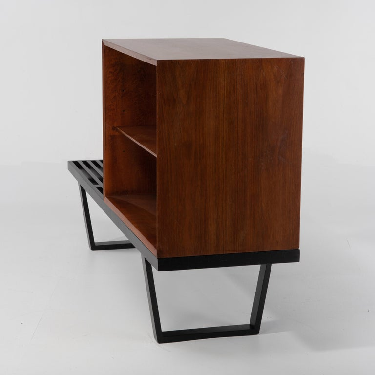 American George Nelson Basic Series Cabinet on Ebonized Herman Miller Bench For Sale