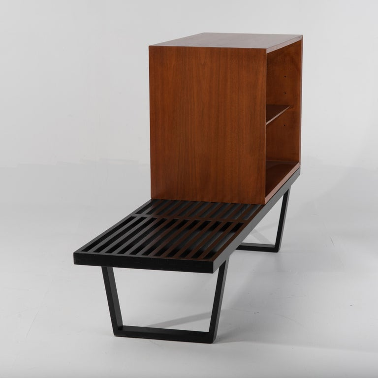 Mid-20th Century George Nelson Basic Series Cabinet on Ebonized Herman Miller Bench For Sale