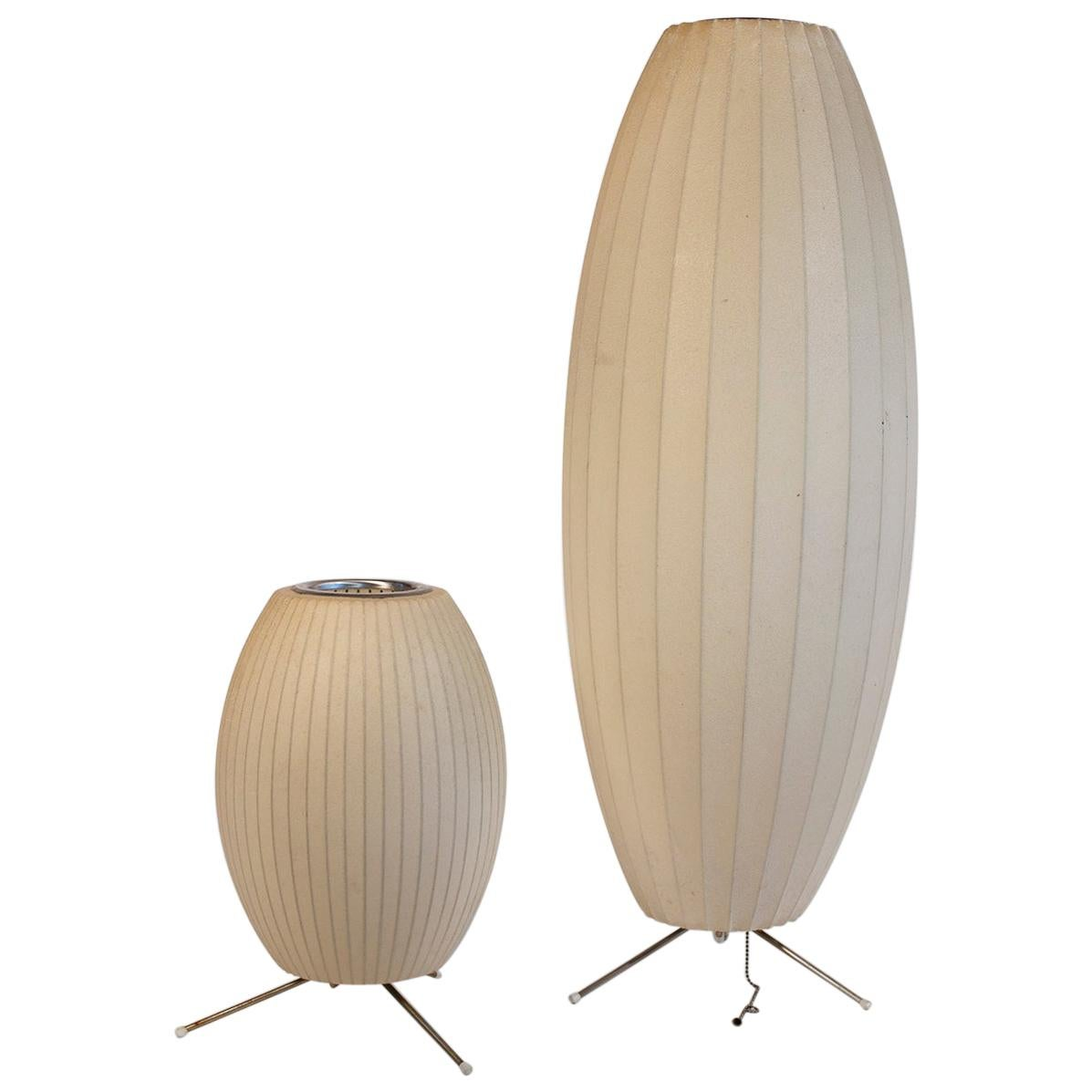 George Nelson Cigar Tripod Bubble Lamps for Howard Miller Vintage, Pair