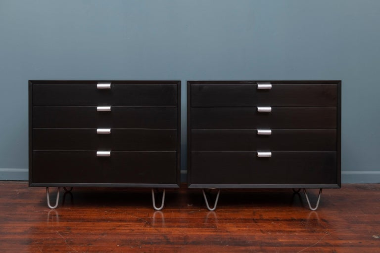 Pair of George Nelson design for Herman Miller dressers. From his acclaimed basic cabinet series these have been newly repainted with all original hardware, labeled.